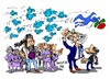 Cartoon: Pablo-Rajoy-Rubalcaba-Twitt (small) by Dragan tagged pablo,iglesias,podemos,mariano,rajoy,partido,popular,pp,alfredo,perez,rubalcaba,socialista,obrero,espanjol,psoe,politics,cartoon