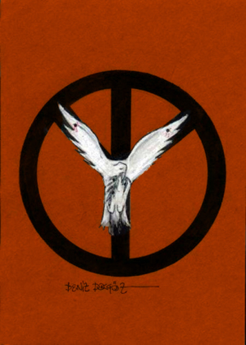 Cartoon: Peace (medium) by denizdokgoz tagged peace,war,peageon,emblem,of