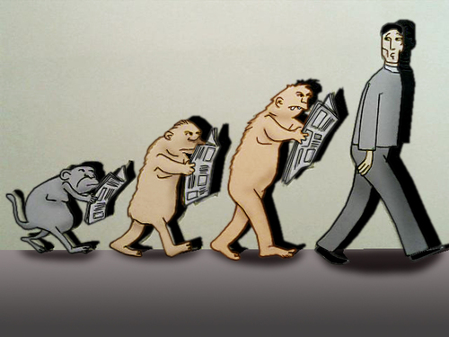 Cartoon: Evolution.. (medium) by berk-olgun tagged evolution