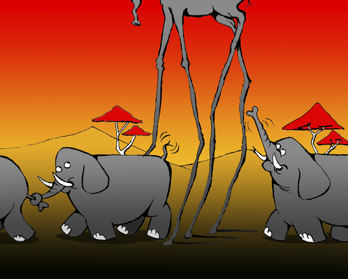 Cartoon: Surrealist Elephant... (medium) by berk-olgun tagged surrealist,elephant
