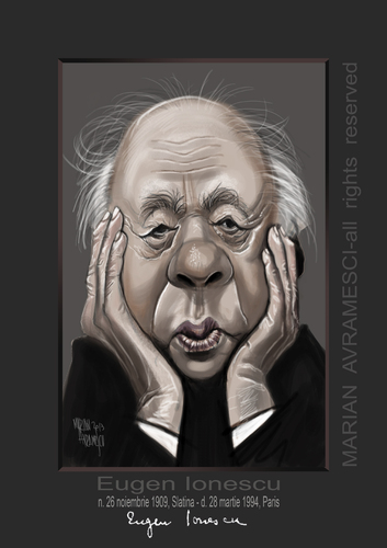 Cartoon: EUGEN IONESCO (medium) by Marian Avramescu tagged mmmmmmmmm