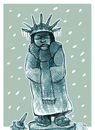 Cartoon: frozen (small) by jenapaul tagged usa,weather,winter,statue,of,liberty,fun