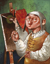 Cartoon: Hieronimus (small) by Wiejacki tagged art,paintings,medieval