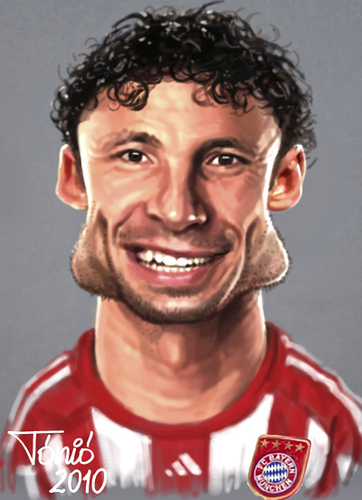 Cartoon: Marc van Bommel FC Bayern (medium) by Tonio tagged dutch,holland,soccer,football,nationalmanschaft,münchen,karikatur,fussball