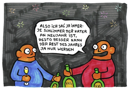 Cartoon: kater (medium) by meikel neid tagged neujahr,silvester,kater