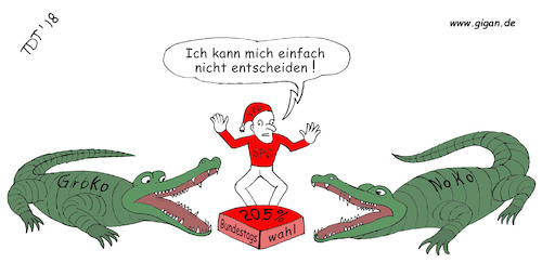 Cartoon: Grokodil oder Nokodil (medium) by TDT tagged groko,nogroko,große,koalition,koalitionsvertrag,krokodil,spd,cdu,csu,bundetagswahl,regierung,bundesregierung,mitgliederentscheid,mitgliedervotum,jusos