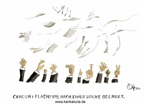 Cartoon: Cancun (medium) by Bernd Ötjen tagged ende,klimawandel,klima,weltklimakonferenz,flashmob,cancun,verhandlungen