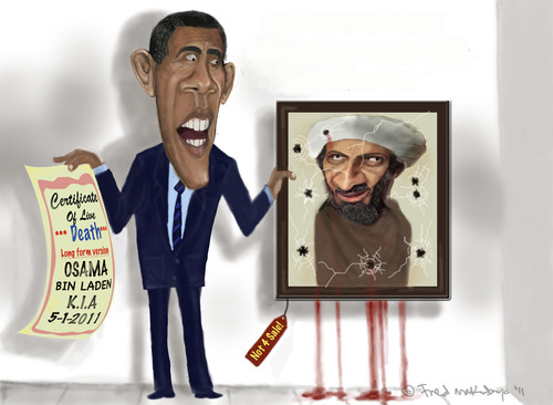 Cartoon: Osama proof of death! (medium) by Fred Makubuya tagged week,the,of,baffoon,barack,states,united,terrorist,obama,laden,bin,osama
