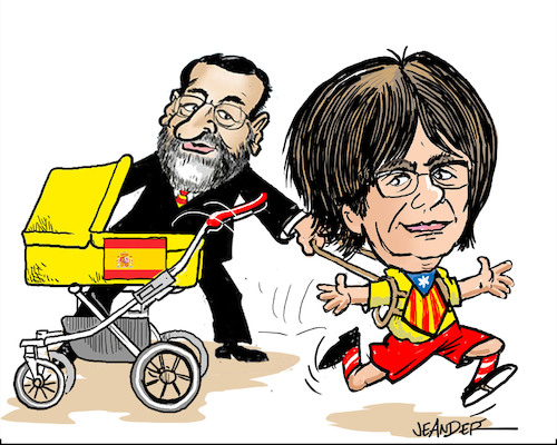 Cartoon: Catalonia election (medium) by jeander tagged catalionia,madrid,spain,carles,puigdemont,president,catalionia,madrid,spain,carles,puigdemont,president