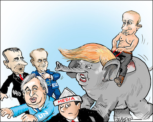 Cartoon: The elephant in the room (medium) by jeander tagged trump,eu,press,media,us,nato,un,the,trump,eu,press,media,us,nato,un