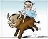 Cartoon: Rough ride - Europe and the bull (small) by jeander tagged berlusconi,euro,crises,depth,bull,europe,italy