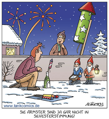 Cartoon: stimmung (medium) by pentrick tagged gerd,tankcomics,comics,tank,gartenzwerg,nachbar,snow,schnee,rakete,feuerwerk,cartoon,fireworks,eve,years,new,silvesterfeuerwerk,stimmung,party,silvester,bökesch