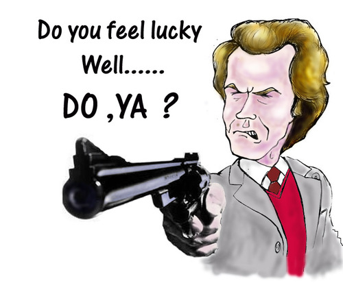 Cartoon: Dirty Harry (medium) by andybennett tagged francisco,san,world,in,handgun,powerful,most,44,colt,enforcer,the,force,magnum,eastwood,clint,callahan,inspector,harry,dirty