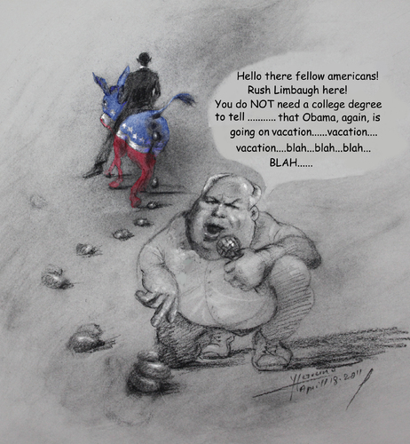 Cartoon: Rush Limbaugh after Obama (medium) by yllifinearts tagged obama,barack,limbaugh,rush