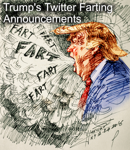 Cartoon: Trump-s Farting Announcements (medium) by yllifinearts tagged trump,donald,election,presidential