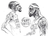 Cartoon: Durant and LeBron (small) by yllifinearts tagged durant,kevin,james,lebron,nba,playoffs