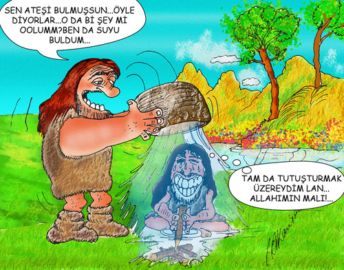 Cartoon: The discovery of the fire (medium) by hakanipek tagged the,bulus,gecmis,kesif,ates,magara