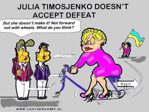 Cartoon: Julio Timosjenko (medium) by cartoonharry tagged julia,timosjenko,bike,politics,ukraine