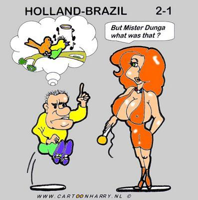 Cartoon: Holland 2 Brazil1 (medium) by cartoonharry tagged holland,brazil,dunga,fifa,worldcup,dreamy,cartoonist,cartoonists,dutch,cartoonharry