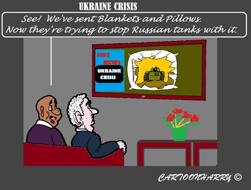 Cartoon: Pillows and Blankets (medium) by cartoonharry tagged ukraine,russia,nato,weapons,pillows,blankets,crisis