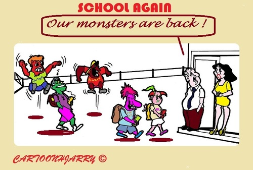 Cartoon: School Beginn (medium) by cartoonharry tagged 2015,beginn,monsters,teachers,school