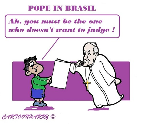 Cartoon: Silent Pope (medium) by cartoonharry tagged brasil,pope,boy,silence,judge,toonpool