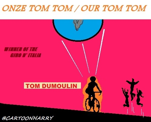 Cartoon: Tom Dumoulin (medium) by cartoonharry tagged winner,tomdumoulin,giro,cartoonharry