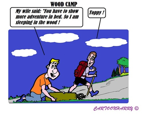 Cartoon: Wood Camp (medium) by cartoonharry tagged wood,camp,adventure,husband,wife,sleep