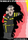 Cartoon: Mahmoud Ahmadinejad (small) by cartoonharry tagged mahmoud,ahmadinejad,iran,world,usa,maniac,pyromaniac,caricature,cartoonist,cartoonharry,dutch,toonpool