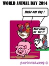 Cartoon: World Animal Day 2014 (small) by cartoonharry tagged world,animals,pig,chicken,parrot,lamb,muslims