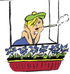 Cartoon: smoking cigarette (small) by Dekeyser tagged cigarette,lola,window,flowers,relax