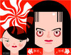 Cartoon: The White Stripes (small) by Hugh Jarse tagged pop blues rock drummer guitarist