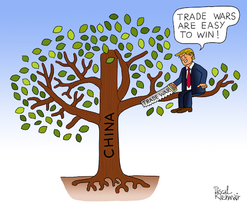 Cartoon: Donald Trump and China (medium) by Pascal Kirchmair tagged trade,wars,are,easy,to,win,war,president,potus,donald,trump,china,guerra,economique,economica,comercial,commerciale,usa,pascal,kirchmair,handelskrieg,humour,gag,umorismo,umore,spirito,humor,lustig,illustration,drawing,zeichnung,political,cartoon,caricature,politische,karikatur,ilustracion,dibujo,desenho,ink,disegno,ilustracao,illustrazione,illustratie,dessin,de,presse,du,jour,art,of,the,day,tekening,teckning,cartum,vineta,comica,vignetta,caricatura,esprit,witz,politics,politique,politik,politica,trade,wars,are,easy,to,win,war,president,potus,donald,trump,china,guerra,economique,economica,comercial,commerciale,usa,pascal,kirchmair,handelskrieg,humour,gag,umorismo,umore,spirito,humor,lustig,illustration,drawing,zeichnung,political,cartoon,caricature,politische,karikatur,ilustracion,dibujo,desenho,ink,disegno,ilustracao,illustrazione,illustratie,dessin,de,presse,du,jour,art,of,the,day,tekening,teckning,cartum,vineta,comica,vignetta,caricatura,esprit,witz,politics,politique,politik,politica