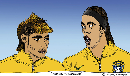 Cartoon: Neymar und Ronaldinho (medium) by Pascal Kirchmair tagged neymar,ronaldinho,gaucho,selecao,karikatur,caricature,cartoon,illustration,brasil,bresil,brazil,brasilien,fußball,foot,football,futbol,futebol,calcio,neymar,ronaldinho,gaucho,selecao,karikatur,caricature,cartoon,illustration,brasil,bresil,brazil,brasilien,fußball,foot,football,futbol,futebol,calcio