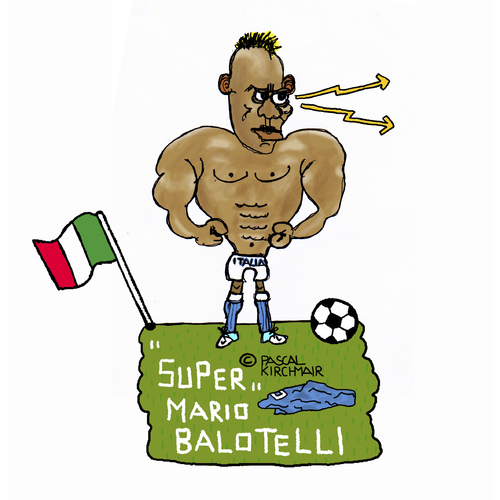Cartoon: Super Mario (medium) by Pascal Kirchmair tagged super,mario,balotelli,italia,italien,squadra,azzurra,calcio,fußball,world,cup,cartoon,humour,caricature,karikatur,dessin,humor,foot,football,futebol,futbol,fifa,weltmeisterschaft