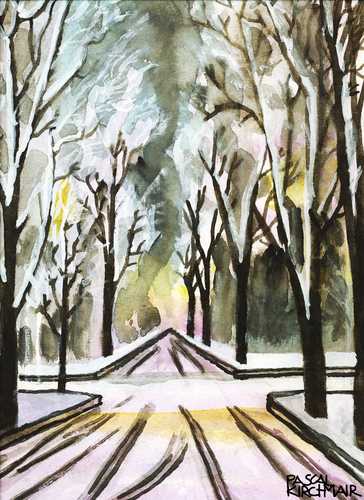 Cartoon: Winterallee in Innsbruck (medium) by Pascal Kirchmair tagged malerei,watercolour,painting,aquarell,innsbruck,allee,winter,winter,allee,innsbruck,aquarell,painting,watercolour,malerei