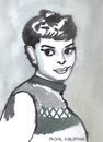 Cartoon: Audrey Hepburn (small) by Pascal Kirchmair tagged hollywood actress actrice schauspielerin audrey hepburn caricature cartoon karikatur portrait aquarell watercolour attrice actriz
