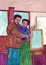 Cartoon: Diego Rivera and Frida Kahlo (small) by Pascal Kirchmair tagged diego,rivera,frida,kahlo,illustration,drawing,zeichnung,pascal,kirchmair,political,cartoon,caricature,karikatur,ilustracion,dibujo,desenho,ink,disegno,ilustracao,illustrazione,illustratie,dessin,de,presse,du,jour,art,of,the,day,tekening,teckning,cartum,vineta,comica,vignetta,caricatura,portrait,retrato,ritratto,portret,kunst,watercolor,watercolour,aquarell,künstler,artists,artistas,mexico,mexiko