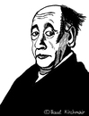 Cartoon: Eugene Ionesco (small) by Pascal Kirchmair tagged eugene ionesco caricature karikatur portrait dessin rhinoceros nashörner zeichnung illustration drawing cartoon theatre absurde theater