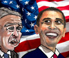 Cartoon: Forerunner and Successor (small) by Pascal Kirchmair tagged stars,and,stripes,etoiles,et,bandes,sternenbanner,banniere,etoilee,star,spangled,banner,george,bush,barack,obama,presidents,usa,amerika,vereinigte,staaten,amerique,washington,flag,flagge,drapeau,americain,fahne,american,amerikanische