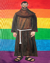 Cartoon: LGBT (small) by Pascal Kirchmair tagged mönch,mönchskutte,kutte,bruder,brother,frere,fratello,frate,monje,monk,moine,monaco,monge,frade,monnik,fray,fraile,frei,freire,lgbt,cartoon,karikatur,caricature,religion,homosexuality,schwul,homosexualität,homosexuell,kirche,homosexual,pascal,kirchmair,illustration,drawing,zeichnung,political,politische,ilustracion,dibujo,desenho,ink,disegno,ilustracao,illustrazione,illustratie,dessin,de,presse,du,jour,art,of,the,day,tekening,teckning,cartum,vineta,comica,vignetta,caricatura,politics,politique,politik,politica,fahne,flag,banner,drapeau,bandera,bandiera,bandeira
