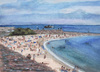 Cartoon: Plage du Vieil Antibes (small) by Pascal Kirchmair tagged zeichnung illustration strand plage aquarelle watercolour dessin vieil antibes la gravette