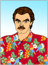 Cartoon: Thomas Sullivan Magnum IV (small) by Pascal Kirchmair tagged thomas,sullivan,magnum,iv,tom,selleck,cartoon,caricature,karikatur,portrait,retrato,ritratto,dibujo,desenho,disegno,dessin,drawing,zeichnung,cartum