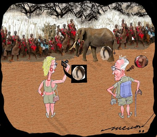 Cartoon: A matter of interest (medium) by kar2nist tagged tourists,africa,elephant,naked,african,women,erection,breasts,voyeurism