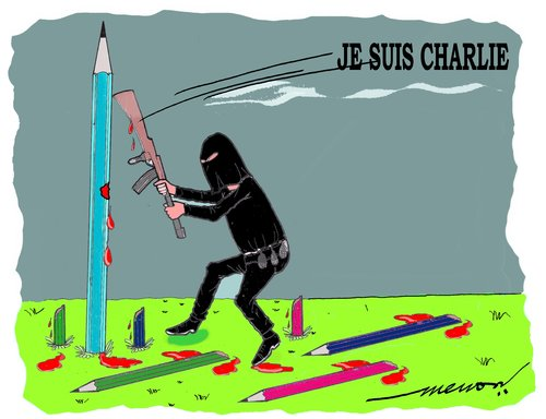 Cartoon: attack on freedom (medium) by kar2nist tagged cartoonists,killling,france,hebdo,charlie