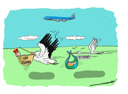 Cartoon: Birth of a prince (medium) by kar2nist tagged birth,prince,stork,crane,pelican
