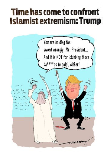 Cartoon: The War-Dancer (medium) by kar2nist tagged trump,saudi,visit,isis