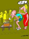 Cartoon: 100th birthday (small) by kar2nist tagged birthday,oldman,wheezing
