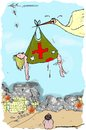 Cartoon: stork in war zone (small) by kar2nist tagged stork,baby,warzone,infants,war,victims