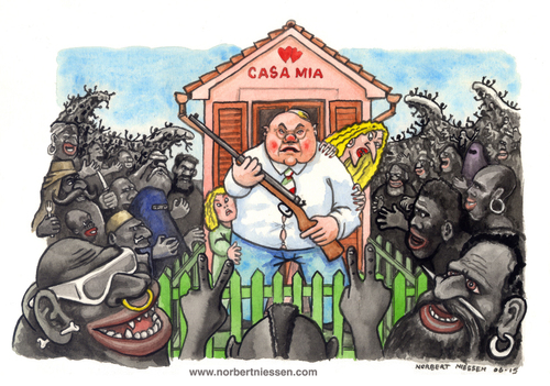 Cartoon: Casa mia (medium) by Niessen tagged blacks,immigrants,monsters,fear,family,danger,rifle,aggression,defense